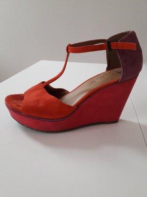 Wedges Tricolor Gr. 39 Clarks Softwear Sommer- Sandaletten Pink Orange Lila