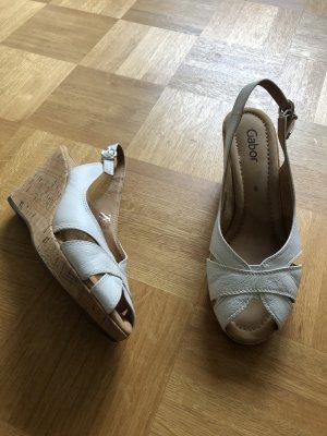 Gabor Wedge Sandals cream-beige