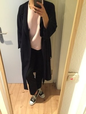 Weekday Collection dünner Mantel dunkelblau lang Oversize mit Gurt