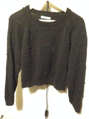 Weekday Collection Strick Pullover mit Bommeln schwarz