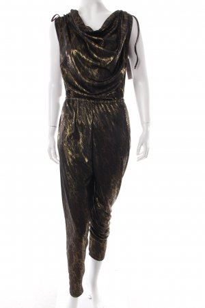 Weekday Jumpsuit schwarz-goldfarben abstraktes Muster Casual-Look