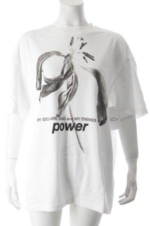 Weekday Oversized Shirt weiß-schwarz florales Muster Urban-Look
