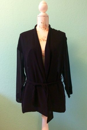 Weekday - schwarzer, semi-transparenter Blazer / Bluse mit Bindegürtel