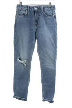 Weekday Slim Jeans stahlblau Casual-Look