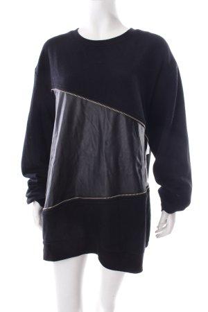 Weekday Sweatshirt schwarz Leder-Optik