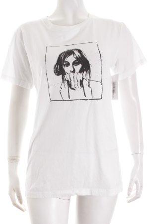 Weekday T-Shirt weiß-schwarz Motivdruck minimalistischer Stil