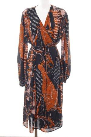 Weekday Wickelkleid hellorange-schwarz abstraktes Muster Vintage-Look