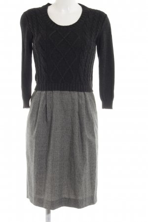 Weekend Max Mara Wollkleid schwarz-hellgrau Webmuster Casual-Look