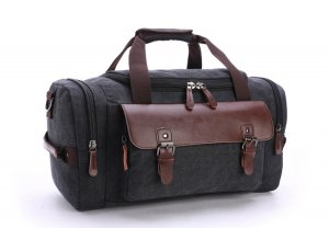 Travel Bag black-taupe linen