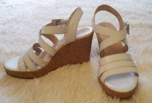5th Avenue Wedge Sandals white leather