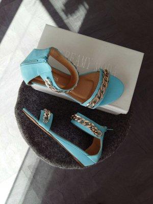Weges Sandale Türkis Gold mit Ketten