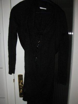 Weibliche, leicht durchsichtige, sexy schwarze Strickpulli - Set, D36