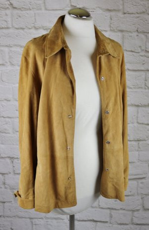 Leather Shirt sand brown-light brown leather