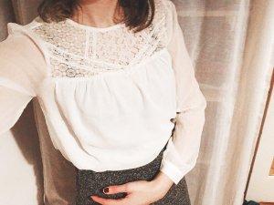 weich fallende zarte Spitzenbluse weiß transparent Bluse Gr. M von H&M
