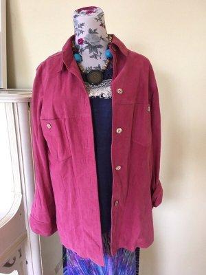 Lederen blouse framboosrood-roze