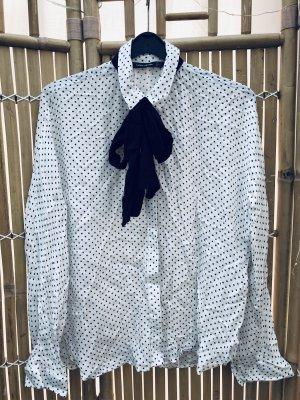 Zara Trafaluc Blusa collo a cravatta bianco sporco-nero