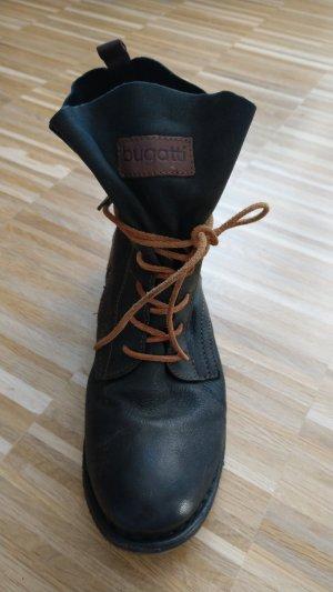 Weiche Leder Stiefeletten/Boots braun/schwarz, Bugatti, 39