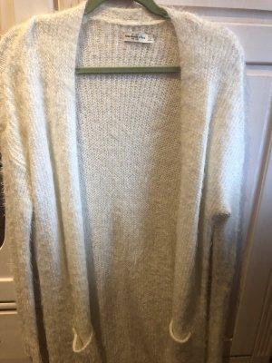 Abercrombie & Fitch Gilet long tricoté blanc cassé