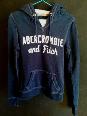 Weicher Abercrombie & Fitch Kapuzenpullover mit gesticktem Schriftzug, dunkelblau