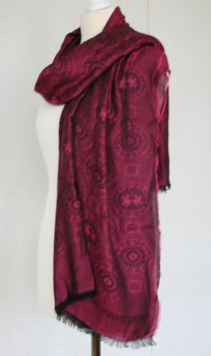 La Martina Pashmina black-dark red cotton