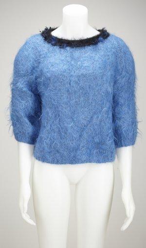 Vintage Maglione oversize nero-blu neon