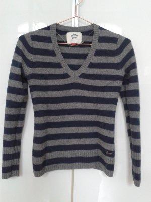 Esprit Wool Sweater grey-dark blue merino wool