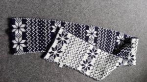 Bijou Brigitte Écharpe en laine blanc cassé-bleu foncé