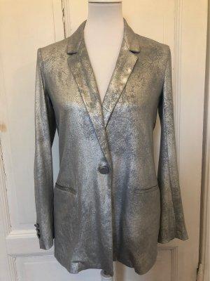 Zara Blazer de esmoquin color plata