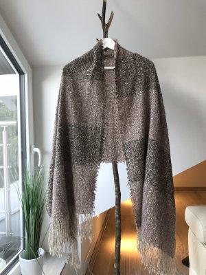 Écharpe en tricot or rose-gris brun