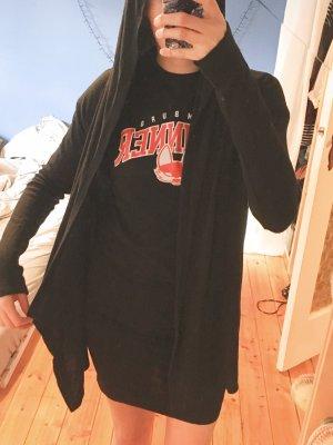 weicher Urban Outfitters Cardigan mit fließender Kapuze Hoodie schwarz