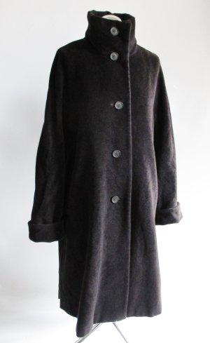 Weicher Wintermantel Mantel Größe L 42 Schwarz Braun Dunkelbraun Angora Lammwolle Kaschmir Stehkragen Wollmantel A-Linie