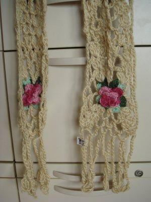 weicher Wolle XXL-Schal mit Rosen beige filigran, sehr lang - Vintage -