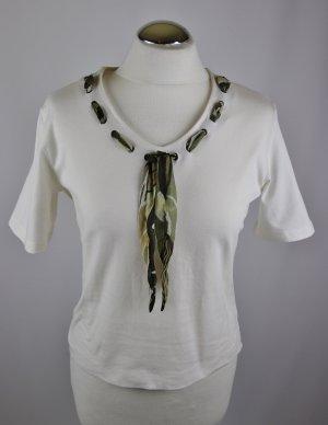 Weiches Kurz Shirt T-Shirt Top Delmod Größe 42 Creme Weiß Hellbeige Grün Bindeband Sailor