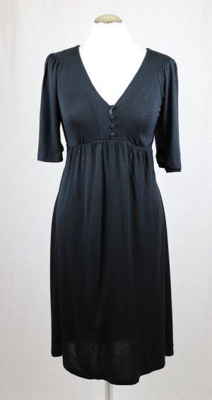Weiches Viskose Jersey Kleid Midikleid edc by Esprit Größe M 36 38 Schwarz gerafft Gürtel Stretch V-Neck