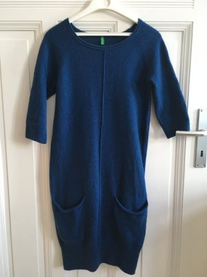 Benetton Balloon Dress blue angora wool
