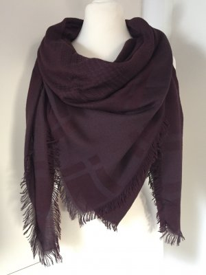 The Kooples Châle au tricot rouge mûre-gris lilas tissu mixte