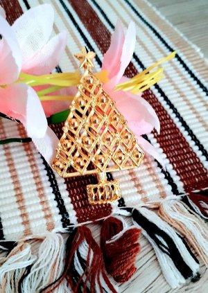 Weihnachtliche Brosche Weihnachtsbaum Gold