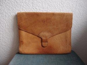 Vintage Porte-documents marron clair cuir
