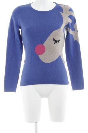 Pull de Noël bleu-gris clair blocage de couleur style décontracté