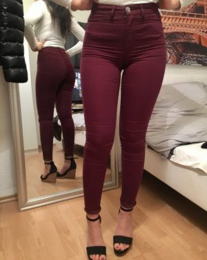 Weinrote Bordeaux Superstretchhose XS 32/34 high waist
