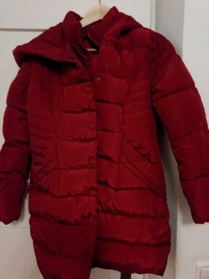 Abrigo de plumón rojo oscuro tejido mezclado