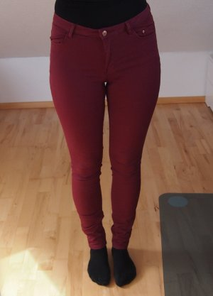 H&M Pantalón de cintura alta carmín-burdeos