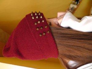 Weinrote Hipster beanie mit nieten mütze one size H&M