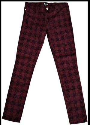 no name Pantalon taille basse bordeau-noir coton