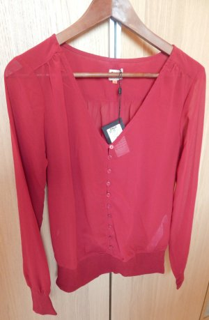 Weinrote Transparentbluse - Only