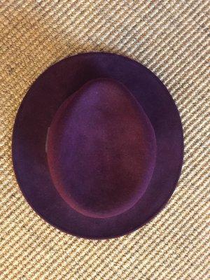 Zara Sombrero de lana burdeos-rojo zarzamora