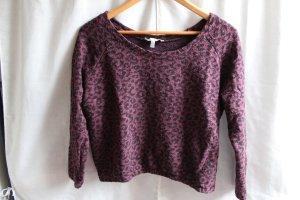 Zara Jersey de cuello redondo burdeos-negro