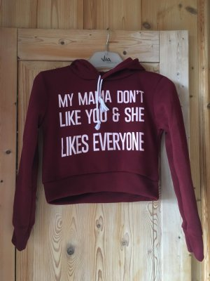 Weinroter Statement-Cropped-Hoodie mit Fleecefutter