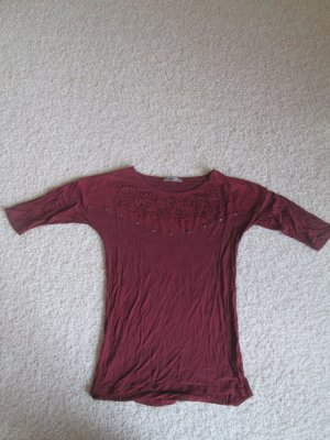 Weinrotes 3/4 Arm Shirt mit Velourlederimitat Detail und Cutouts