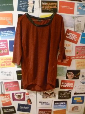 Weinrotes Oversize-Shirt von ONLY, Lederapplikation, Blogger, Hipster, Bordeaux